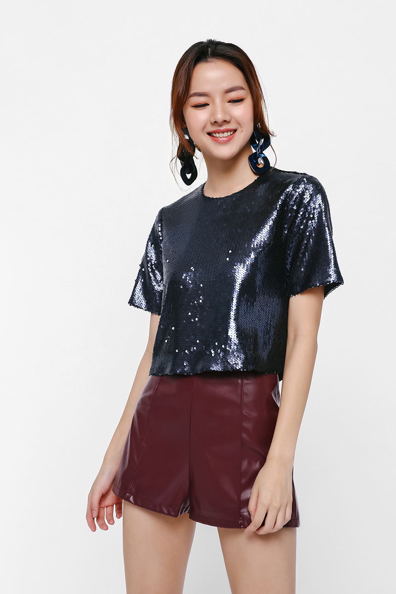 Karol Boxy Sequin Top
