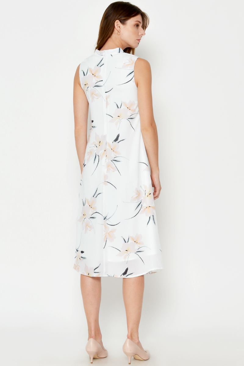 CHEYANNE FLORAL HIGHNECK MIDI DRESS