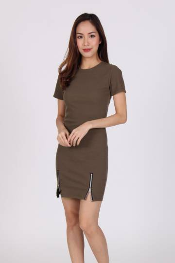 Double Zip Bodycon Tee Dress in Brown