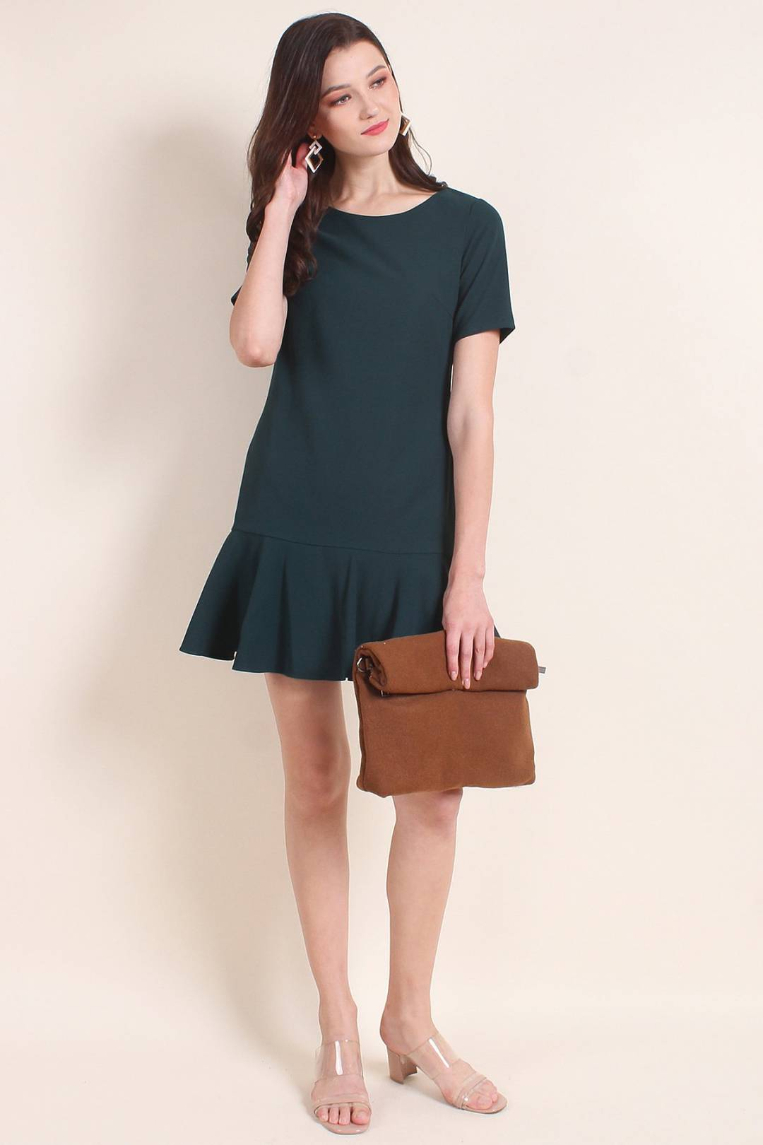 MADEBYNM CAITLIN FLUTED HEM SLEEVES WORK DRESS IN FOREST GREEN [XS/S/M/L/XL]