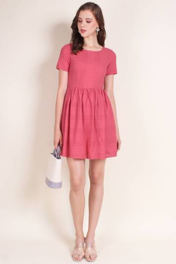 MADEBYNM EDELMIRA EYELET FIT-N-FLARE LADY DRESS IN ROSEA [XS/S/M/L]