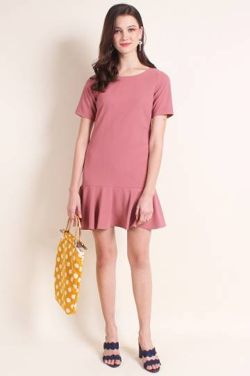 MADEBYNM CAITLIN FLUTED HEM SLEEVES WORK DRESS IN TEA ROSE [XS/S/M/L/XL]