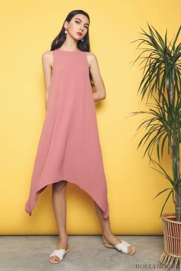 Rica Handkerchief Midi Dress Rose Pink