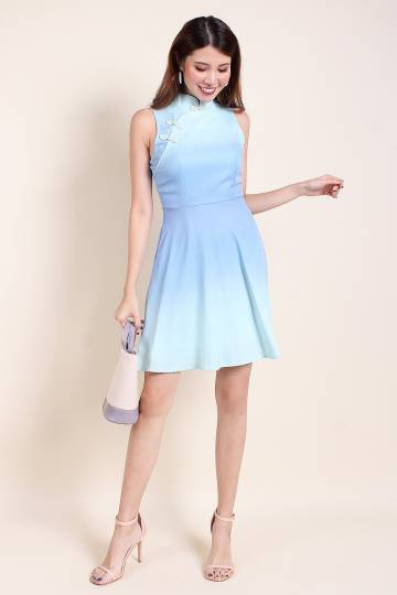 KARLYN FIT-N-FLARE OMBRE CHEONGSAM IN SKY MINT [S/M/L]