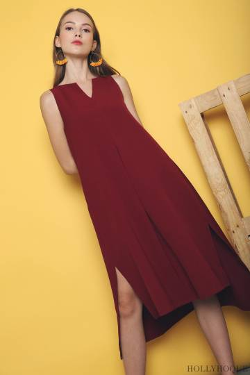 Hadler Trapez Midi Dress Wine (Restock)