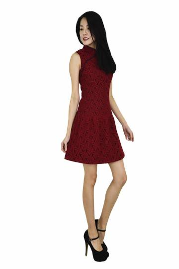 Annie  Oriental Collar Lace Low Waist  Dress - CNY Collection