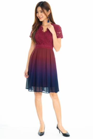 Happiness Ombre Sleeve Dress In Maroon/Navy