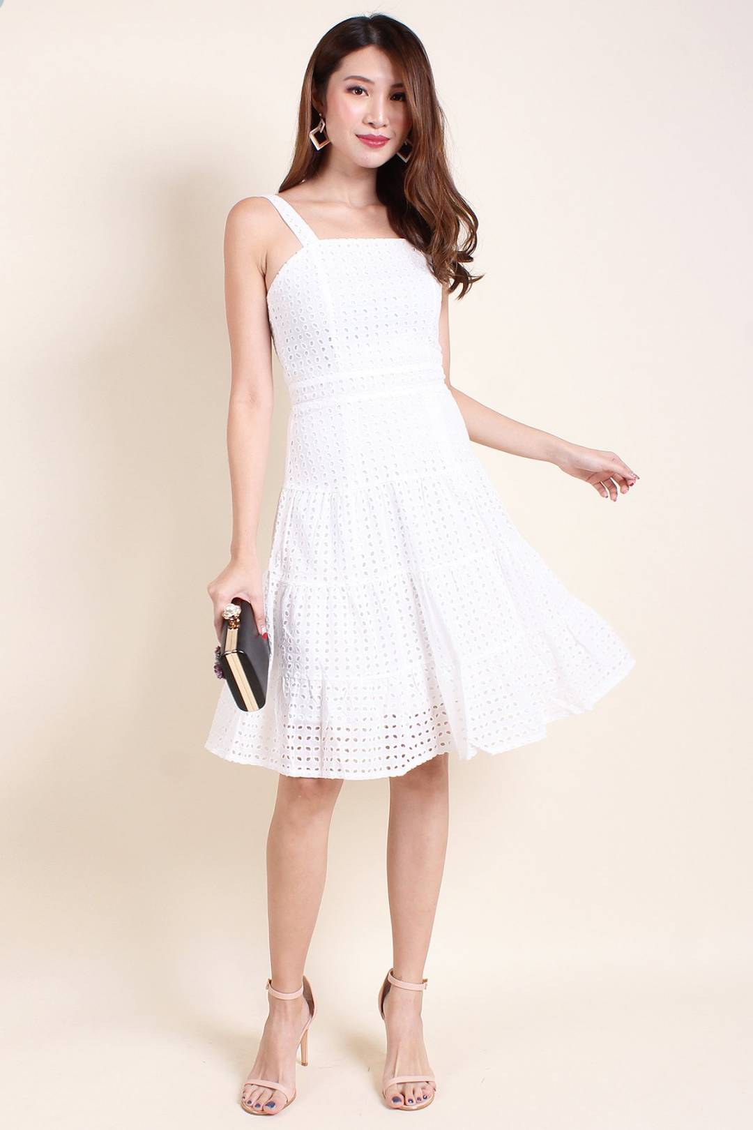 MADEBYNM HOPE EYELET A-LINE DRESS IN WHITE [XS/S/M/L]