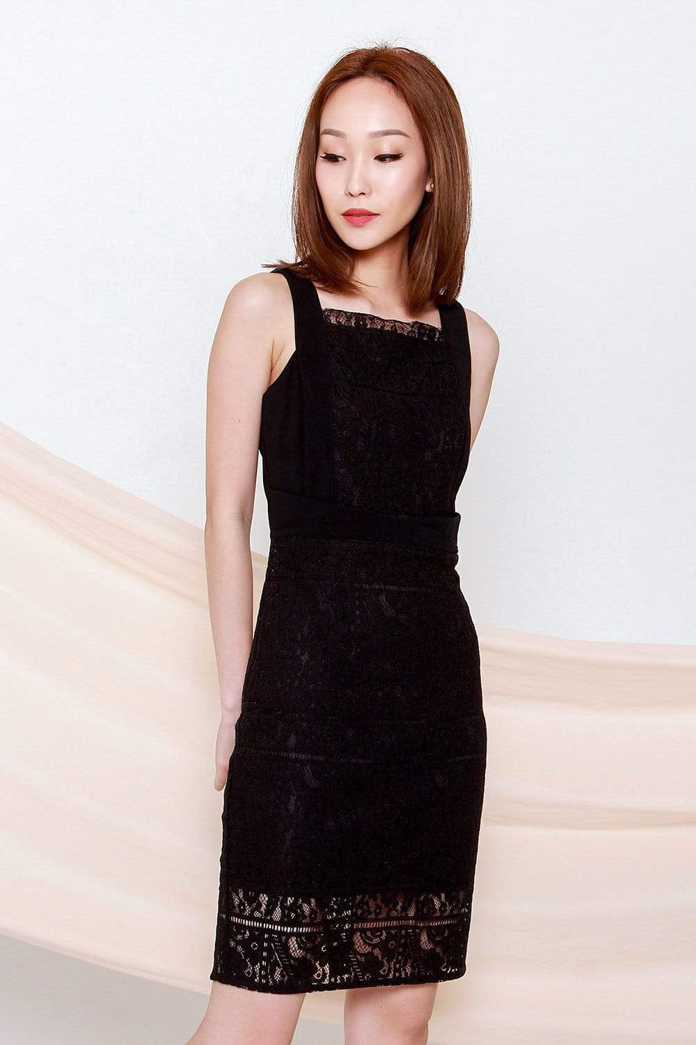 ADDISON BLACK LACE PENCIL DRESS