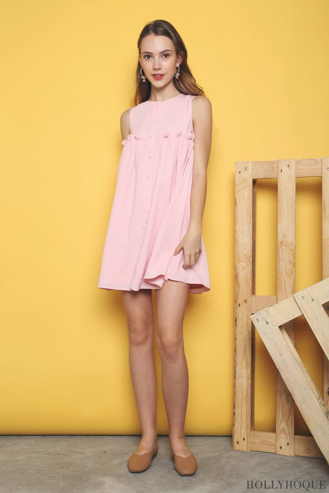 Lee Ruffles Babydoll Dress Candy Pink