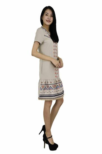 Fennie Classic Embroidery Low Waist Dress (CNY Collection)