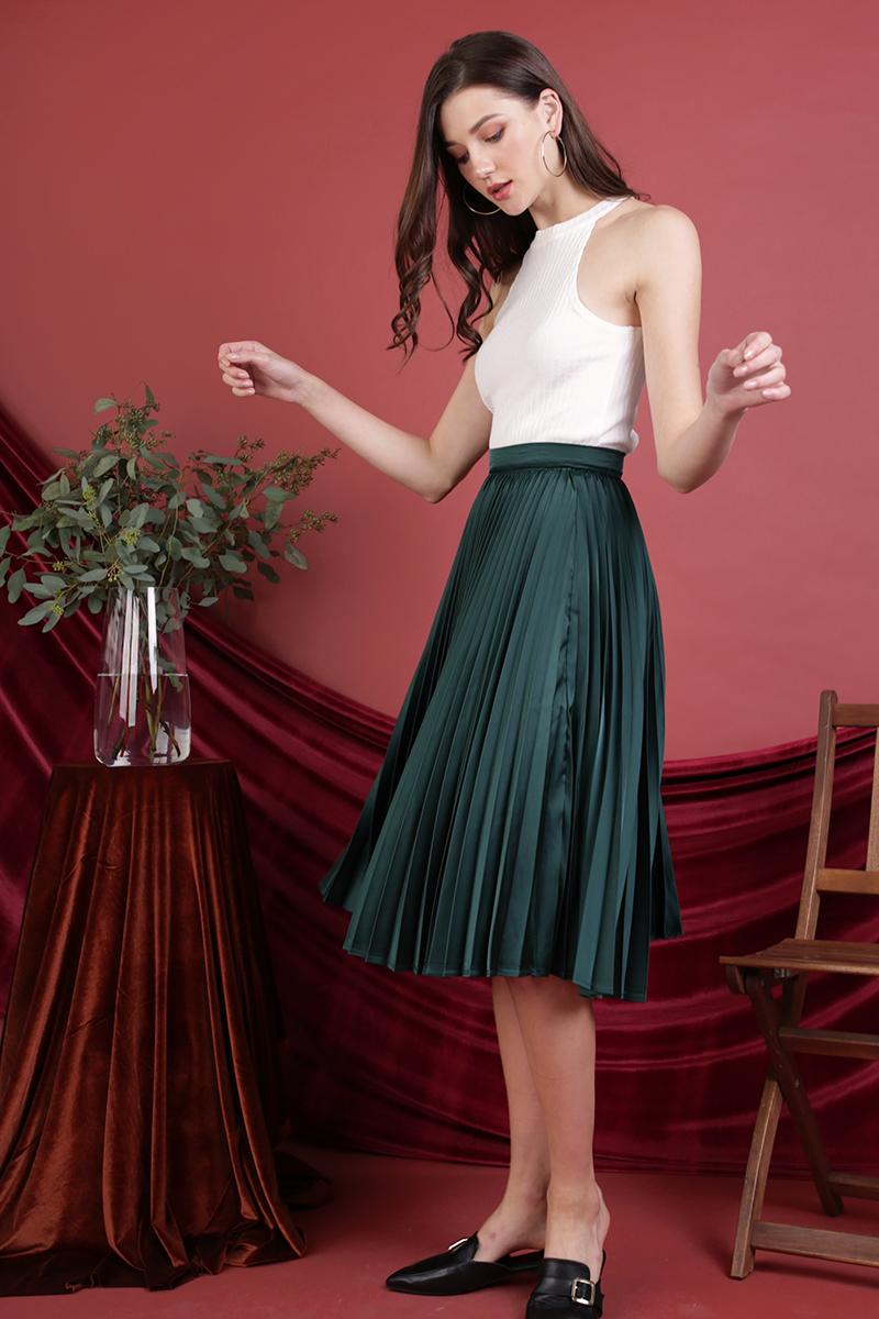 Courtney Pleated Midi Skirt (Emerald)