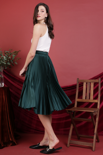 Courtney Pleated Midi Skirt (Emerald)