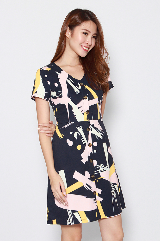MILLIE KAY ABSTRACT BUTTON DOWN DRESS (NAVY)