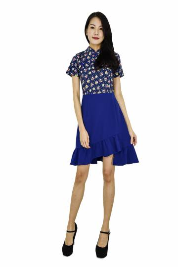 Annie  Oriental Collar Fit and Flare  Dress - CNY Collection