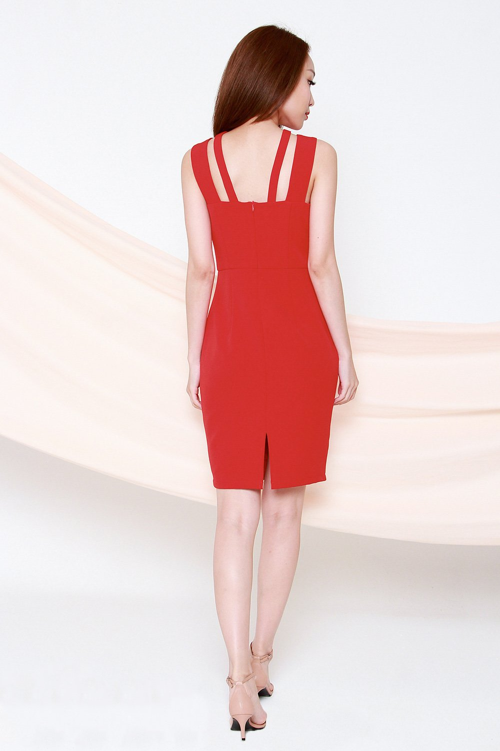 KIRA RED DOUBLE STRAP DRESS