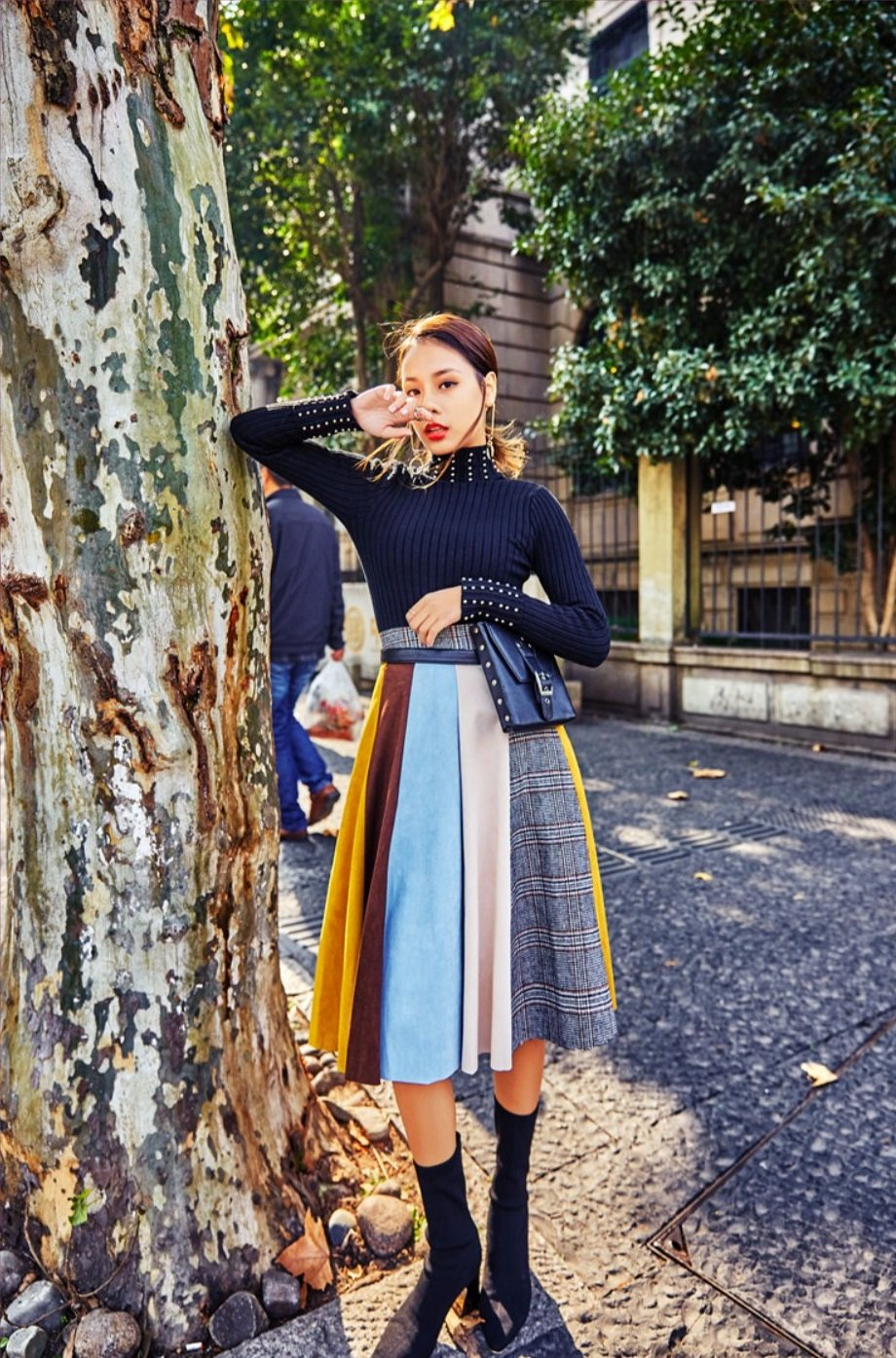 Muti Colours Suede Wide Skirt