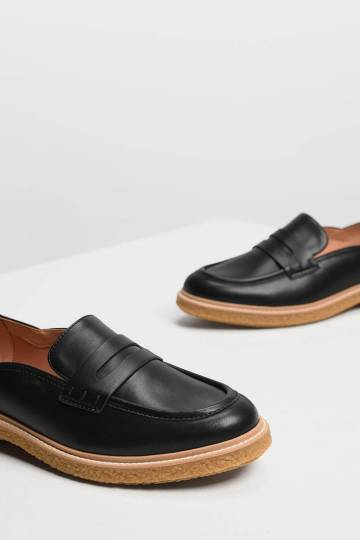 Curved Edge Penny Loafers
