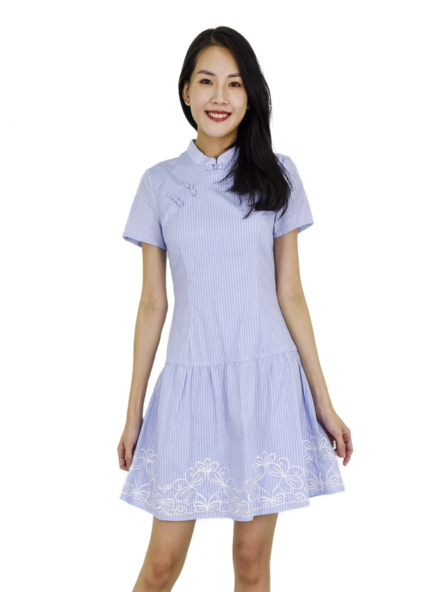 Tricia Classic Embroidery Low Waist Dress (CNY Collection)