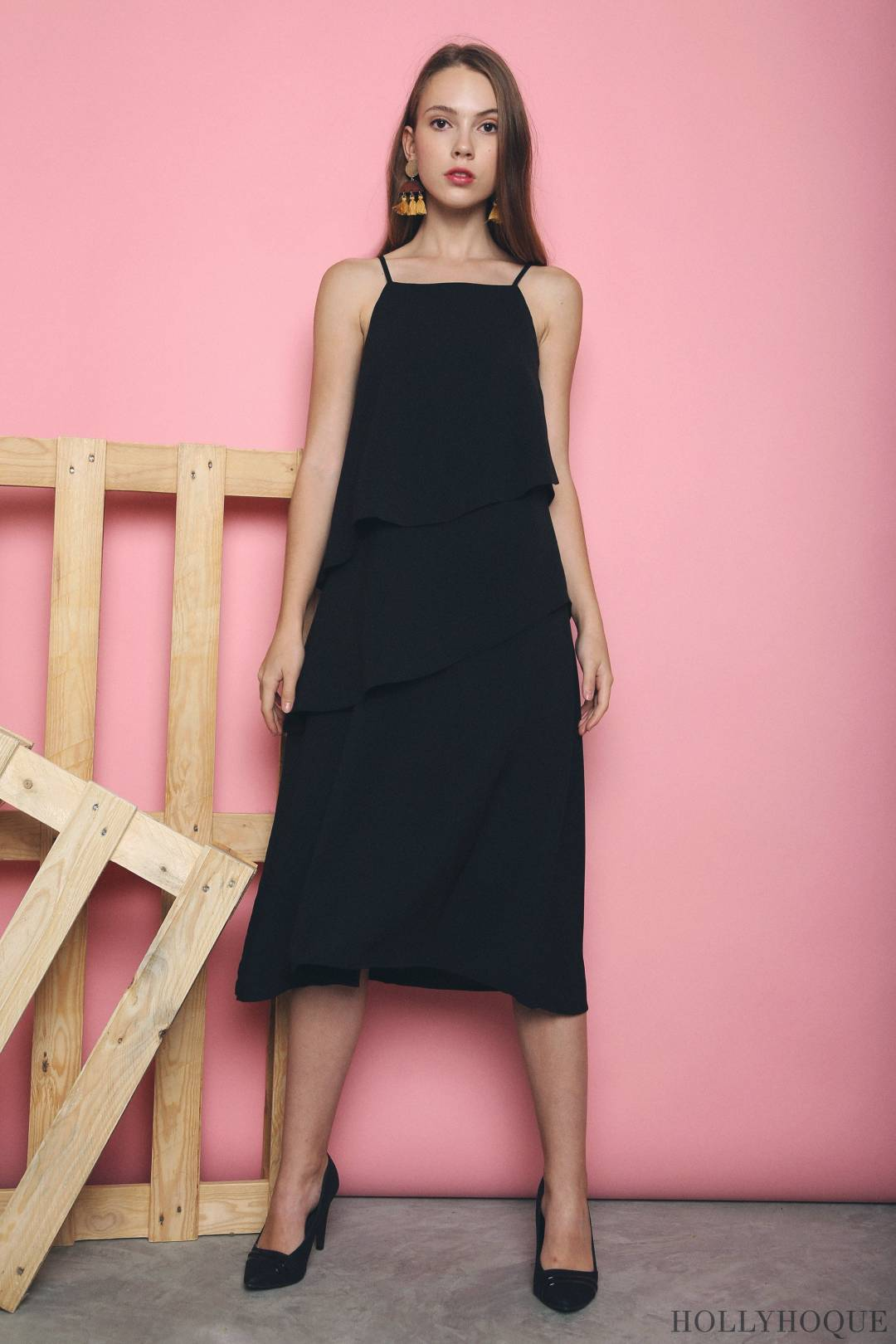 Seira Diagonal Tier Midi Dress Black (Restock)