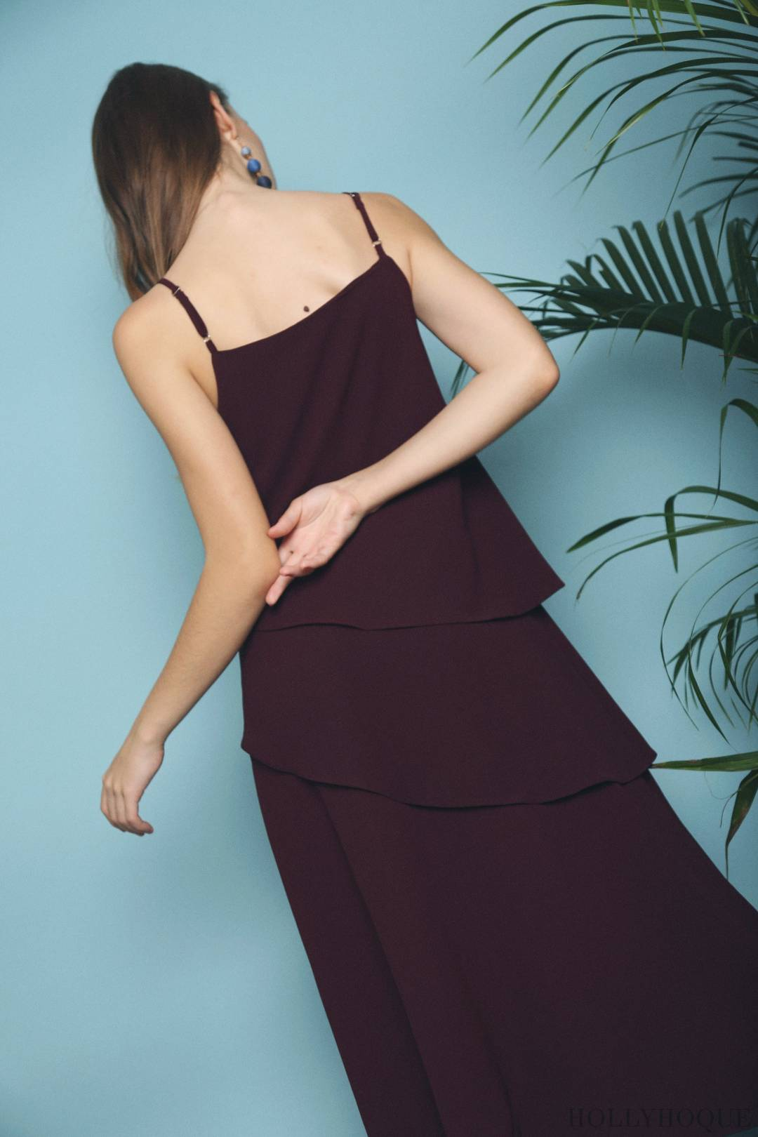 Seira Diagonal Tier Midi Dress Burgundy (Restock)
