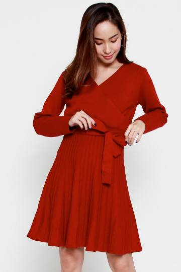 Rayco Knit Dress in Red