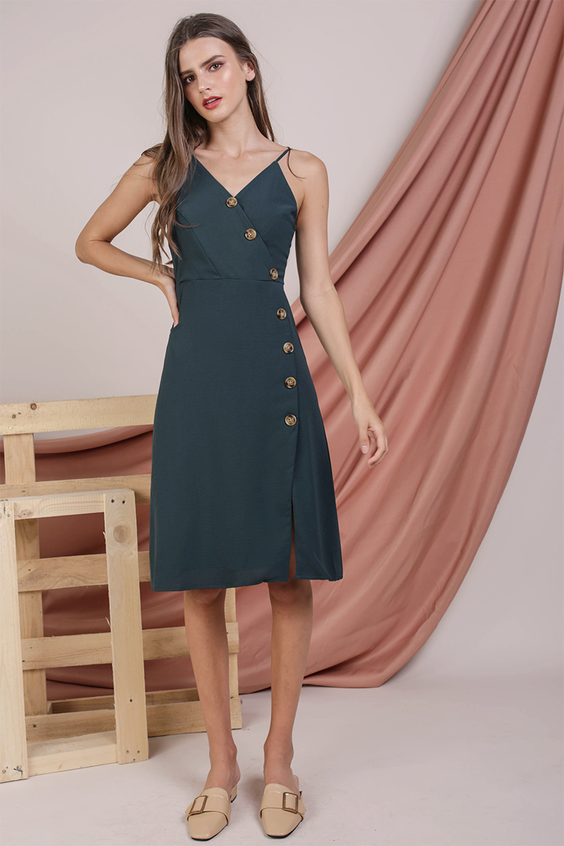 Becca Button Spag Dress (Forest Green)