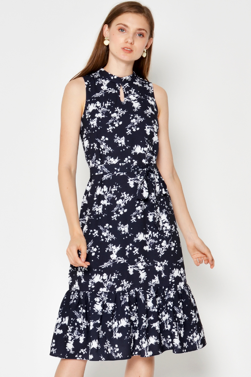 OAMRY FLORAL MIDI DRESS W SASH NAVY