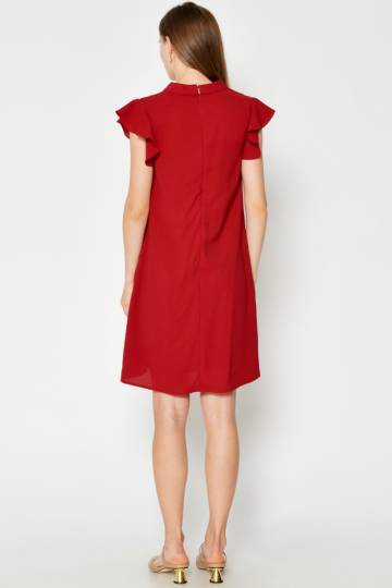 KESHA RUFFLE SLEEVE DRESS W SASH RED