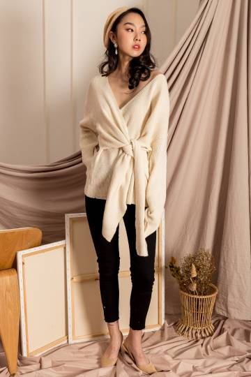 Romy Front Tie Sweater in Alabaster