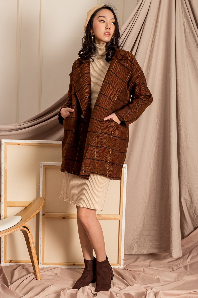 *PREMIUM* Granace Checked Oversize Coat in Chocolate