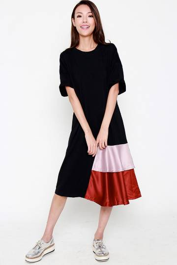 Sienna Colourblock Dress in Black Bronze