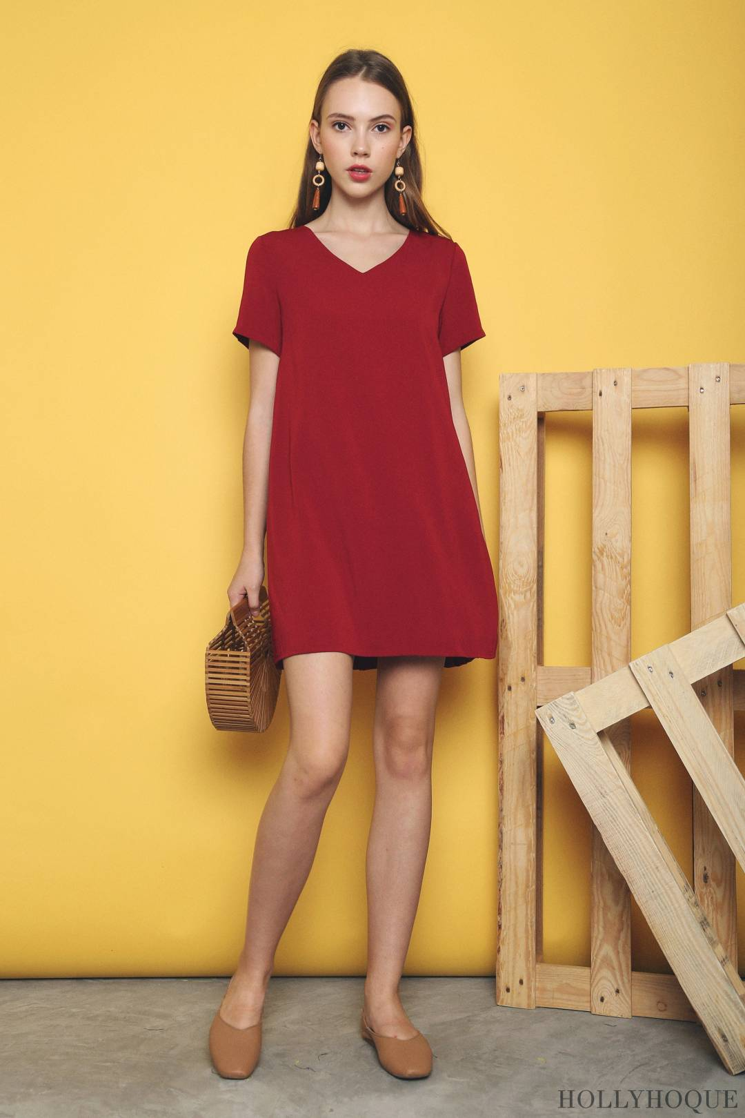 Pansy Pleats Back Dress Red