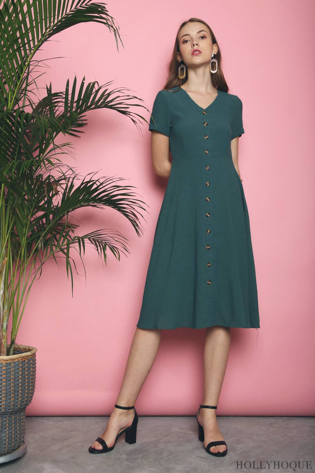 Ryder Buttons Basic Midi Dress Emerald