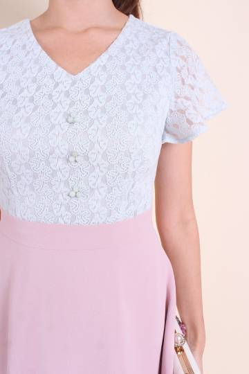 MADEBYNM IMPERIAL JADE BEADS LACE SKATER DRESS IN PINK/MINT [XS/S/M/L/XL]