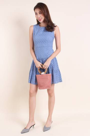 MADEBYNM ELVIRA EYELET TIER DRESS IN CORNFLOWER BLUE [XS/S/M/L/XL]
