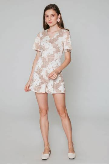 KHLOE FLORAL LACE PLAYSUIT CREAM