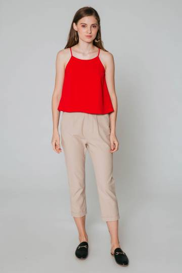 ZAYNA FLARE TOP RED