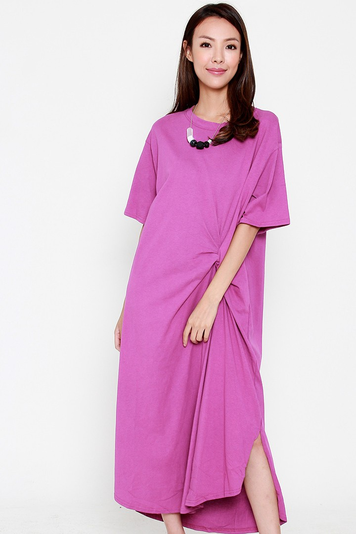 Rosal Knot Dress in Purple