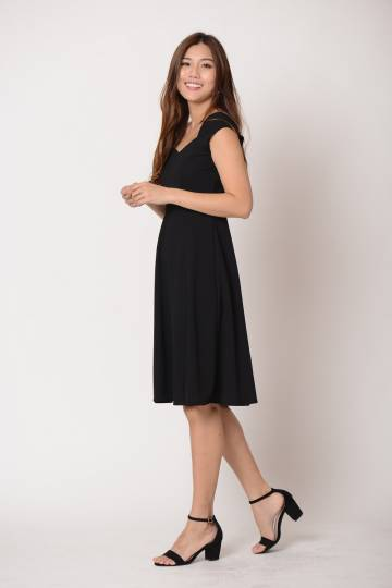 Celina Midi Dress in Black