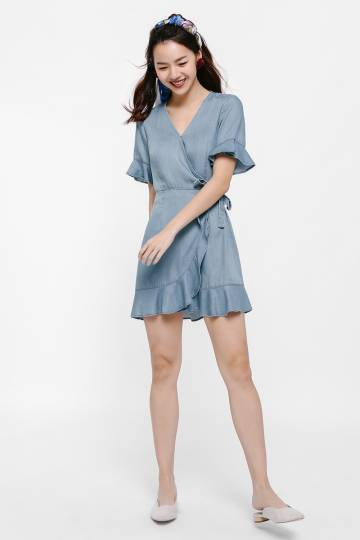 Gillian Denim Wrap Dress