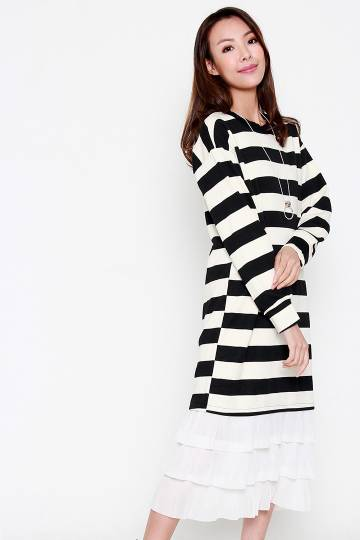 Hung Stripe Dress in Black White
