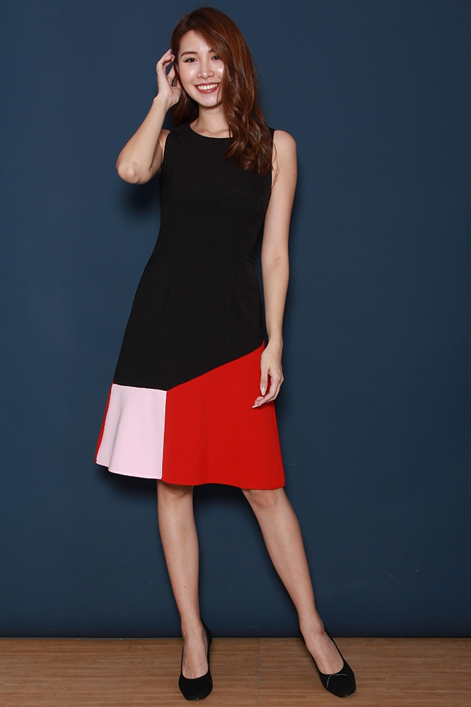 THE BALTIMORE COLOUR BLOCK DRESS (BLACK)