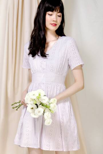 Mirth Broderie Flared Dress (Lilac)