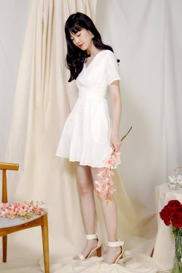 Mirth Broderie Flared Dress (White)