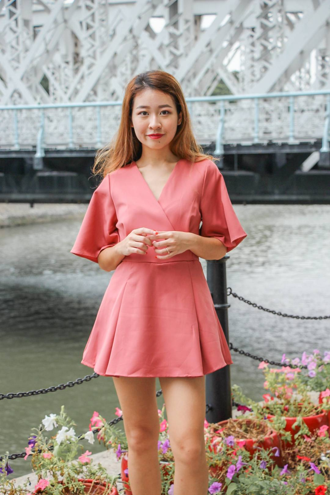 Bella Basic Romper Dress (Dusty Rose)