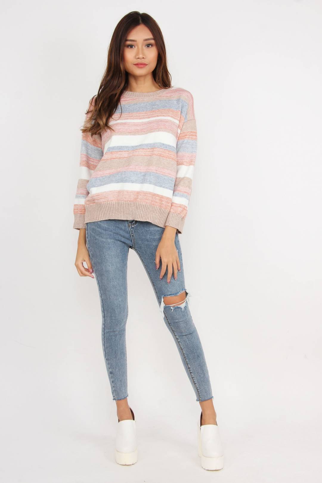 Candy Dreaming Knitted Sweater (Neutral)