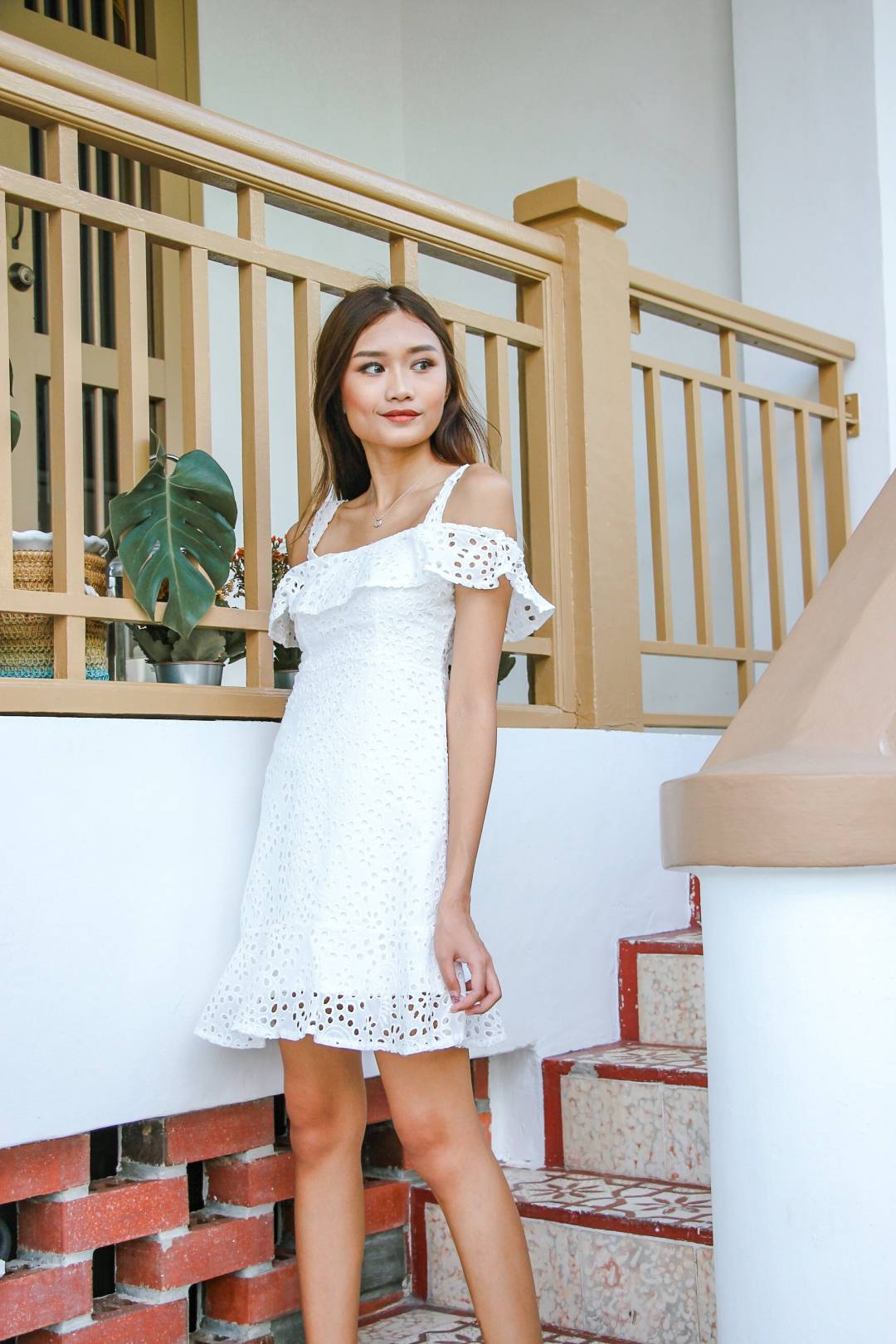 Jill Crochet Dress (White)