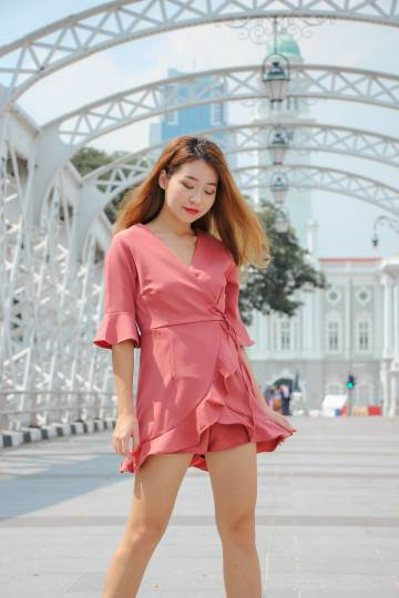 Liza Ruffles Romper Dress (Dusty Rose)