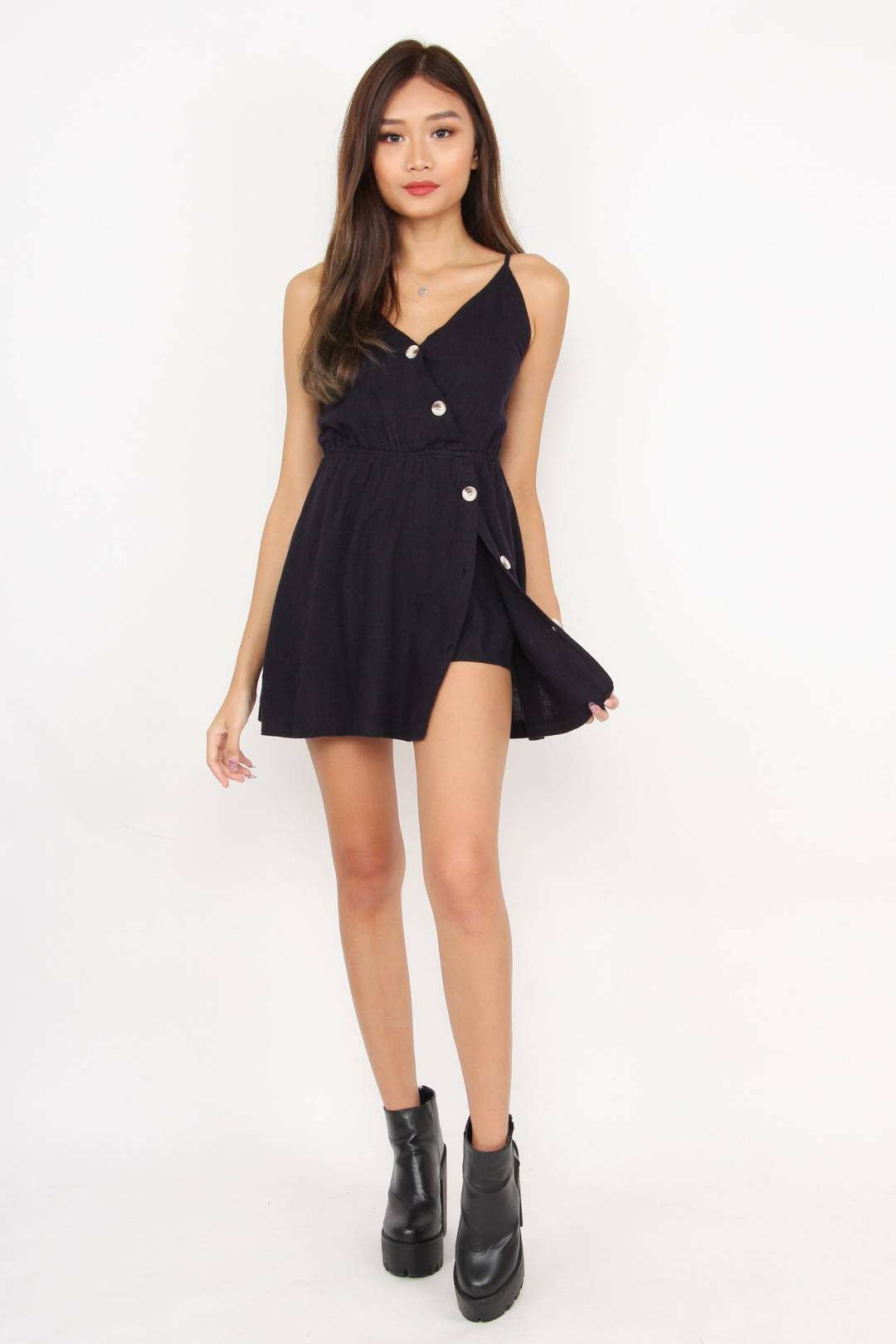 On Track Button Romper Dress (Navy)